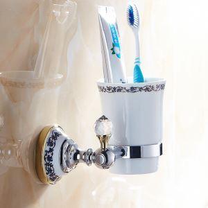 (Entrepôt UE) Salle de bains moderne Titulaire Accessoires placage laiton porte-brosses à dents