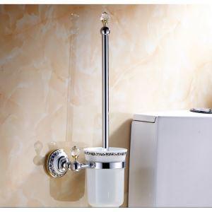 (Entrepôt UE) Salle de bains moderne Titulaire Accessoires placage en laiton toilettes porte de Brosse