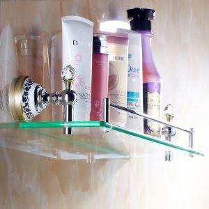 Etagère en verre Ti-PVD pour salle de bain en laiton