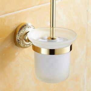 (Entrepôt UE) Porte de toilettes Brosse Salle de bains moderne Laiton Accessoires Ti-PVD Titulaire
