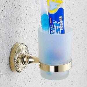 (Entrepôt UE) Support porte en laiton titulaire brosse à dents pour salle de bain Accessoires Ti-PVD