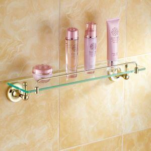 Etagère en verr laiton Ti-PVD L52cm pour de salle de bain