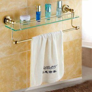 Etagère de bain en verre laiton Ti-PVD L56.5cm pour salle de bain