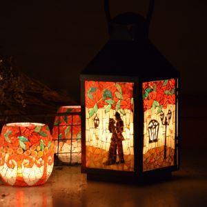 Mosaïque Vintage Rose Motif Lanternes à bougie Night Light Petit pour les cadeaux du jour de Valentine Cafe &