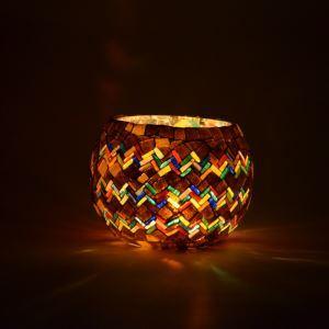 Chandelier Vintage Mosaïque main multicolore verre Bougie ménages Parure ameublement articles (bougie incluse)