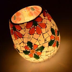 Vintage mosaïque florale détenteurs main multicolore verre Bougie ménages Parure articles d'ameublement (bougie inclus)