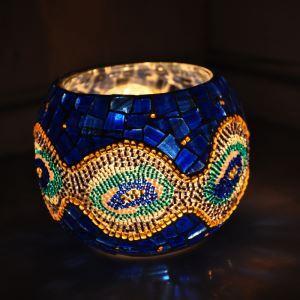 Holders Vintage Mosaïque main multicolore verre Bougie ménages Parure ameublement articles (bougie inclus)