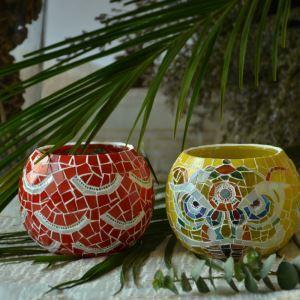 Motif floral vintage Porte Mosaïque main multicolore verre Bougie ornements de ménage articles d'ameublement (bougie inclus)