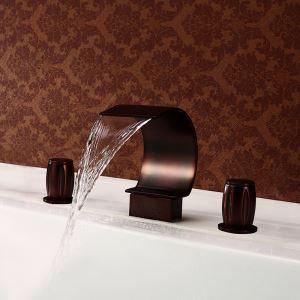 (Entrepôt UE) (En Stock) Bronze huilé Double Antique Poignées Trois Trous d'installation Baignoire Lavabo cascade robinet de la baignoire