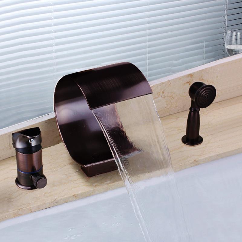 robinet baignoire huil bronze mitigeur 3 trous avec douchette pour salle de bain antique. Black Bedroom Furniture Sets. Home Design Ideas
