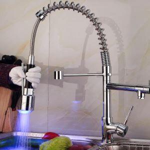 (Entrepôt UE) Moderne mitigeur Lavabo nickel brossé Printemps LED robinet de cuisine
