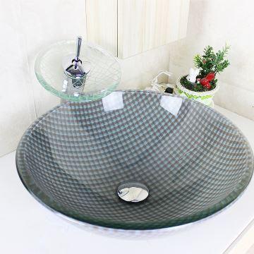 Vasque à poser en verre trempé rond grilles avec robinet cascade ...