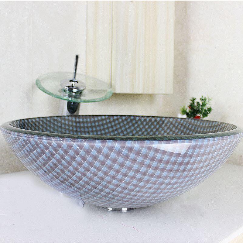 vasque poser en verre tremp rond grilles avec robinet. Black Bedroom Furniture Sets. Home Design Ideas