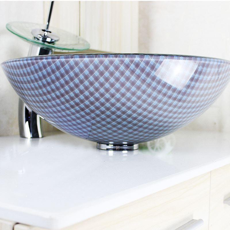 vasque poser en verre tremp rond grilles avec robinet cascade pour salle de bains. Black Bedroom Furniture Sets. Home Design Ideas