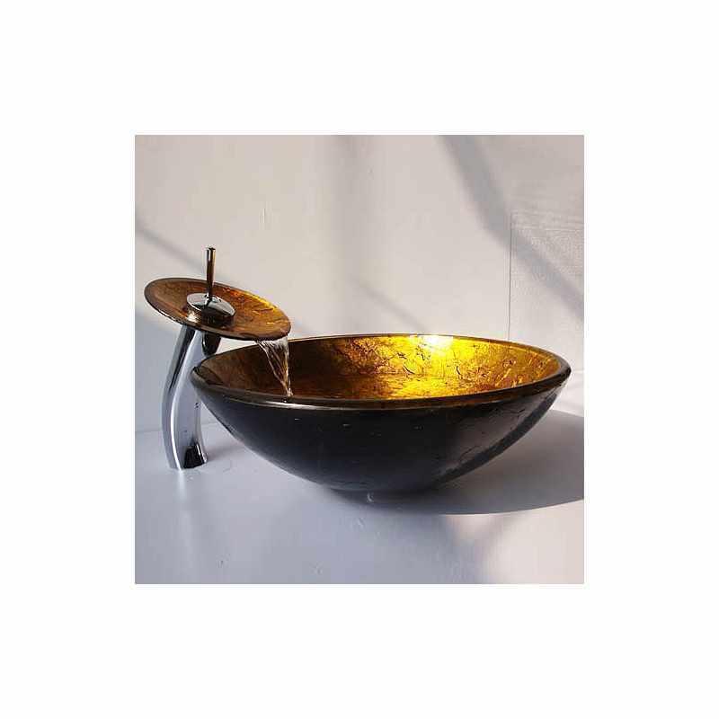 vasque en verre tremp rond avec robinet cascade pour salle de bains toilettes. Black Bedroom Furniture Sets. Home Design Ideas