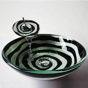 (Entrepôt UE) Moderne rond noir et blanc évier en verre trempé et le robinet définit avec robinet cascade eau Anneau Égoutter montage