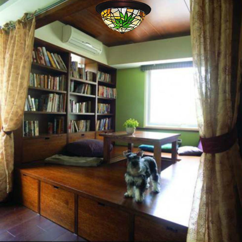 tiffany plafonnier 2 lampes en verre feuilles de bambou d32cm pour chambre int rieure. Black Bedroom Furniture Sets. Home Design Ideas