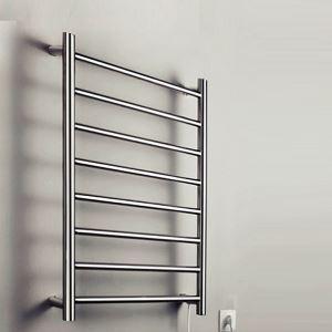 70W Moderne style simple Chauffe-serviettes Argent mur Gendarmerie porte-serviette en acier inoxydable