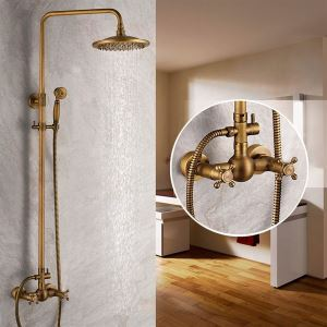 Colonne de douche laiton antique avec pommeau de douche pour salle de bain