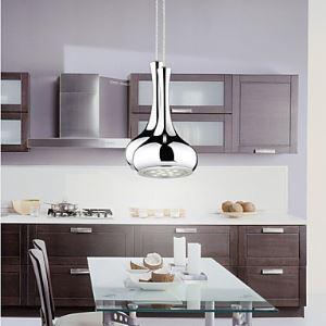 Suspension 12w LED vase globe argent placage H26cm pour salle à manger