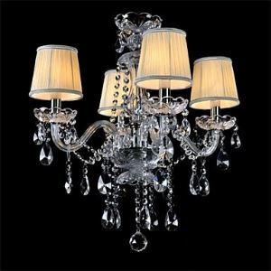Lustre en verre Cristal à 4 Lampes abat-jour en tissu pour salle chambre hôtel