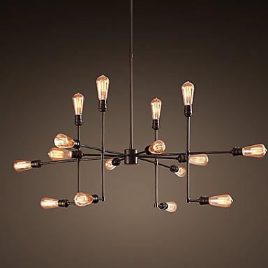 lustre vintage 16 lampes en m tal r tro l100cm luminaire design pour cuisine salon. Black Bedroom Furniture Sets. Home Design Ideas