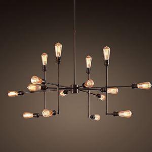 Lustre vintage à 16 lampes en métal rétro L100cm luminaire design pour cuisine salon