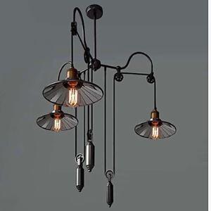 Lampes Suspendues Style rétro vintage en métal verre 3 lumières intérieur abat-jour noir pour restaurant cuisine