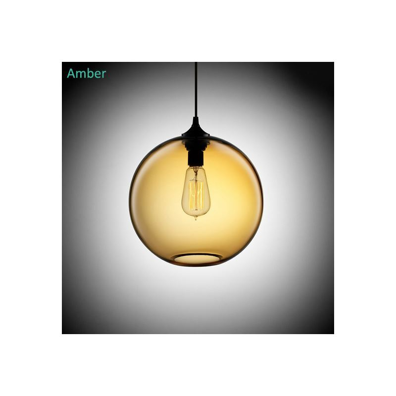 suspension boule en verre d25cm 60w moderne lampe bulle coloris luminaire cuisine d coratif pas cher. Black Bedroom Furniture Sets. Home Design Ideas