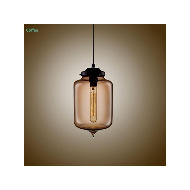suspension en verre coloris luminaire design bouteille h29cm pour cuisine chambre salon salle. Black Bedroom Furniture Sets. Home Design Ideas