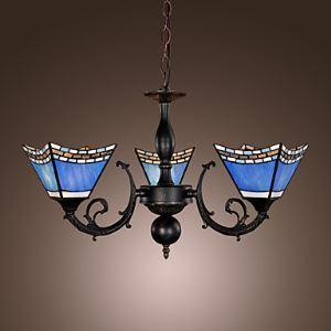 (Entrepôt UE) 40W Lustre Tiffany antique inspiré avec 3 lampes - abat-jour bleu