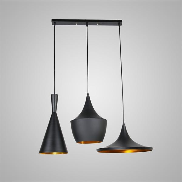 lustre plafonnier 3 lampes suspensions style industriel en aluminium noir l77cm luminaire. Black Bedroom Furniture Sets. Home Design Ideas