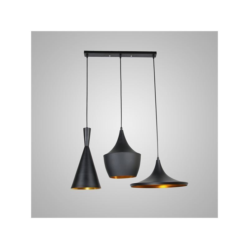 Lustre plafonnier 3 lampes suspensions style industriel for Luminaire suspension salon