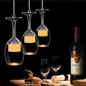 Plafonnier à 3 lumières LED D25cm 3Wx3 verre à vin tasse moderne suspension cuisine bar couloir pas cher