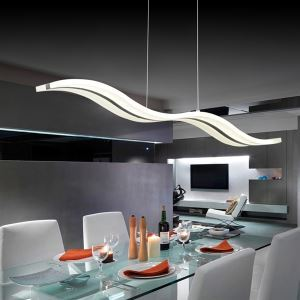 (Entrepôt UE) (DISPONIBLE) Lustre design moderne suspension LED en forme de vague luminaire cuisine chambre salon pas cher