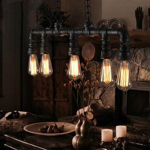 (En Stock) Rétro Lampe Vintage suspension Métal Pipe 5-Lumières Pendantif Lustre