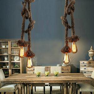 (Entrepôt UE) Lampe Suspendue - Vintage/Rustique - avec Ampoule y compris - Métal