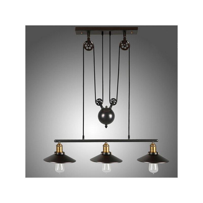 entrep t ue lampe suspendue vintage en m tal 3 lampes luminaire pour salle cuisine salle. Black Bedroom Furniture Sets. Home Design Ideas