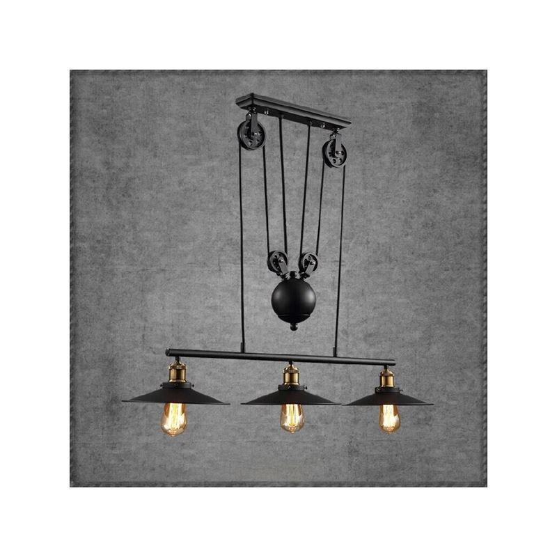 lampe suspendue vintage l 90 cm en m tal 3 lampes pour salle cuisine salle manger. Black Bedroom Furniture Sets. Home Design Ideas
