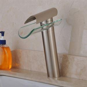 (Entrepôt UE) (En Stock) Contemporaine cascade robinet lavabo - Nickel brossé finition (hauteur)