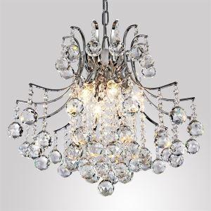 Lustre cristal à 6 lampes D 40 cm pour salle chambre moderne