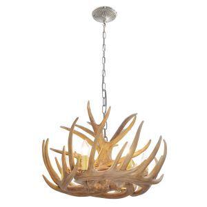 Lustre à 6 lumières suspension de cerf en résine D58cm rustique cascade ramure en vedette