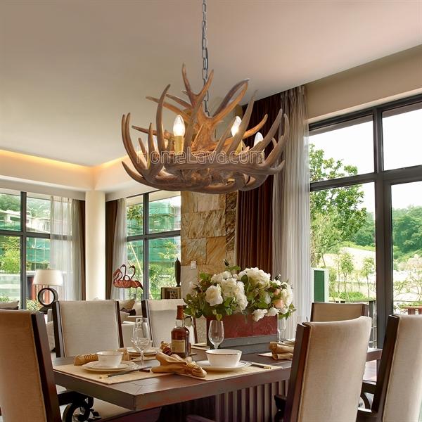 lustre 6 lumi res suspension de cerf r sine d58cm rustique pour cuisine restaurant. Black Bedroom Furniture Sets. Home Design Ideas