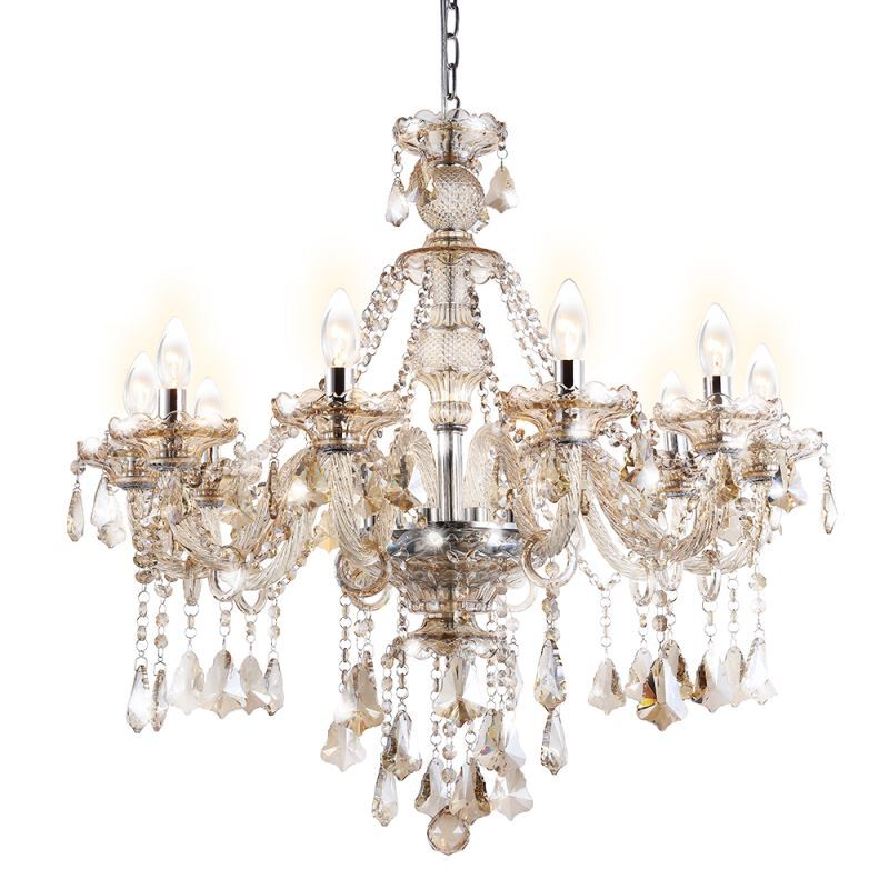 lustre baroque cristal 10 lampes d 80 cm cognac grand pour salon pas cher. Black Bedroom Furniture Sets. Home Design Ideas