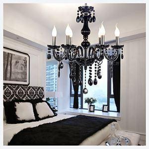 (Entrepôt UE) Lustres noir à style Vintage 6 lumières d'argent avec Cristal pour salle salon chambre
