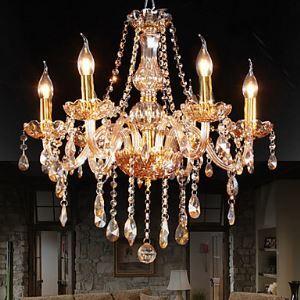 (Entrepôt UE) Lustre cristal élégant couleur ambre à 6 Lampes pour salle chambre cuisine