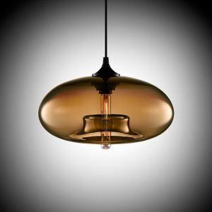 (Entrepôt UE) Lustre à 3 - lampes suspesnion en verre moderne Lampe suspendue luminaire en conception de bulle brun pour cuisine bar restaurant