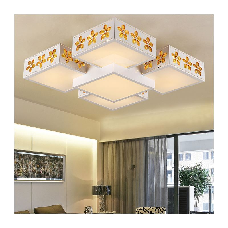 Plafonnier led acrylique sakura d55cm luxe luminaire design pour chambre cuisine salle manger for Plafonnier design pour chambre
