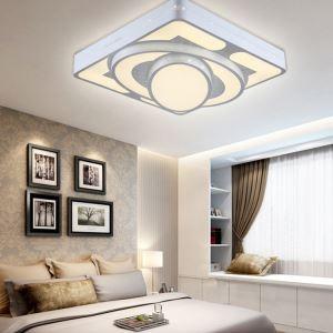 (Entrepôt UE) Plafonnier Moderne mode simple LED Acrylique Carré blanche encastrée Lumière Salon Chambre Salle à manger Salle d'étude