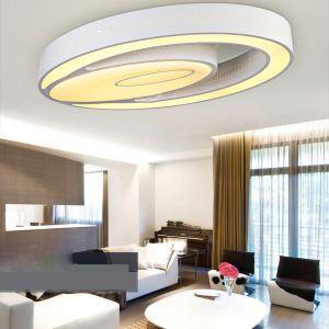 (Entrepôt UE) Plafonnier Moderne mode simple LED acrylique ovale blanche encastrée Lumière Luminaire design pour Salon Chambre Salle d'étude Cuisine